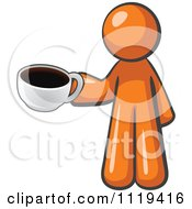Cartoon Of An Orange Man Barista With A Cup Of Coffee Royalty Free Vector Clipart