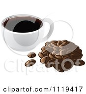 Cartoon Of A Cup Of Coffee With A Pile Of Beans Royalty Free Vector Clipart