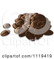 Cartoon Of A Pile Of Coffee Beans Royalty Free Vector Clipart by Leo Blanchette