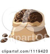 Cartoon Of A Sack Of Coffee Beans Royalty Free Vector Clipart