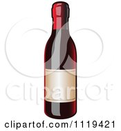 Clipart Of A Bottle Of Red Wine Royalty Free Vector Illustration by Leo Blanchette