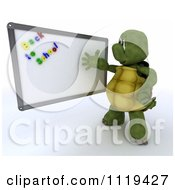 3d Tortoise Teacher Presenting Back To To School Magnets On A White Board