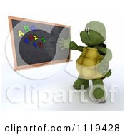 3d Tortoise Teacher Presenting A Black Board With Magnets