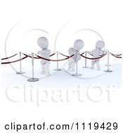 Clipart Of 3d White Characters Waiting In A Line Royalty Free CGI Illustration