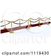 3d Velvet Ropes And Golden Poles Beside A Red Carpet