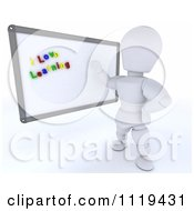 Clipart Of A 3d White Character Teacher With I Love Learning Magnets On A White Board Royalty Free CGI Illustration by KJ Pargeter