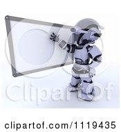 3d Robot Teacher Presenting A White Board