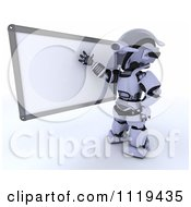 Clipart Of A 3d Robot Teacher Presenting A White Board Royalty Free CGI Illustration by KJ Pargeter