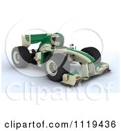 Clipart Of A 3d Tortoise Driving A Green Race Car Royalty Free CGI Illustration