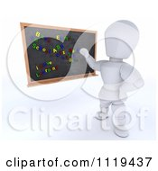 Clipart Of A 3d White Character Teacher Writing Magnet Sentences On A Black Board Royalty Free CGI Illustration