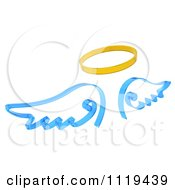 Clipart Of 3d Blue Angel Wings And A Golden Halo Royalty Free CGI Illustration