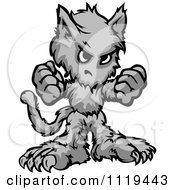 Cartoon Of A Tough Halloween Wolfman Holding Up Two Fists Royalty Free Vector Clipart by Chromaco