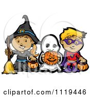 Cartoon Of Halloween Kids In Witch Ghost And Super Hero Costumes Royalty Free Vector Clipart by Chromaco
