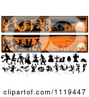 Cartoon Of Halloween Silhouettes And Website Banners Royalty Free Vector Clipart