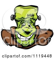 Cartoon Of A Halloween Happy Frankenstein Face Royalty Free Vector Clipart