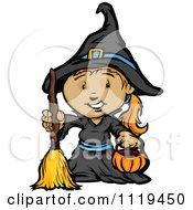 Cartoon Of A Halloween Girl In A Witch Costume Holding A Pumpkin Container Royalty Free Vector Clipart