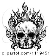 Clipart Of A Skull With Gray Flames Royalty Free Vector Illustration
