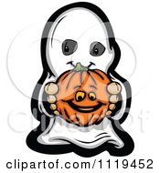 Cartoon Of A Halloween Kid In A Ghost Costume Holding Out A Pumpkin Royalty Free Vector Clipart by Chromaco