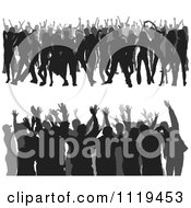 Clipart Of Crowds Of Silhouetted Dancers 1 Royalty Free Vector Illustration