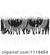 Clipart Of A Silhouetted Crowd Of Dancers 3 Royalty Free Vector Illustration