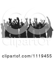 Clipart Of A Silhouetted Crowd Of Dancers 4 Royalty Free Vector Illustration