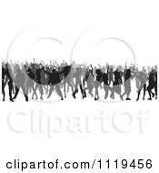 Clipart Of A Silhouetted Crowd Of Dancers 6 Royalty Free Vector Illustration