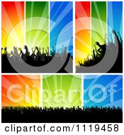 Clipart Of Silhouetted Crowds At Concerts Or Dances Over Colorful Rays Royalty Free Vector Illustration