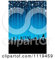 Clipart Of A Silhouetted Dancing Party Crowd Under Blue Rays And Sparkles Royalty Free Vector Illustration