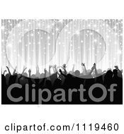 Clipart Of A Silhouetted Dancing Party Crowd Under Silver Rays And Sparkles Royalty Free Vector Illustration