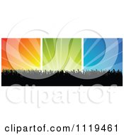 Clipart Of A Silhouetted Crowd At A Concert Or Dance Over Colorful Rays 3 Royalty Free Vector Illustration