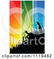 Clipart Of A Silhouetted Crowd At A Concert Or Dance Over Colorful Rays 2 Royalty Free Vector Illustration