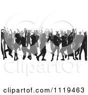 Clipart Of A Silhouetted Crowd Of Dancers 5 Royalty Free Vector Illustration