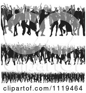 Clipart Of Crowds Of Silhouetted Dancers 2 Royalty Free Vector Illustration