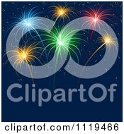 Clipart Of Colorful Fireworks Bursting In A Night Sky 2 Royalty Free Vector Illustration by dero