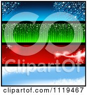 Clipart Of Blue Green Red And Blue Winter Christmas Holiday Website Banners Royalty Free Vector Illustration