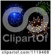 Clipart Of Colorful Fireworks Bursting In A Night Sky 1 Royalty Free Vector Illustration
