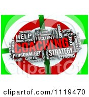 Clipart Of A 3d Coaching Word Collage On A Green And Red Target Royalty Free CGI Illustration