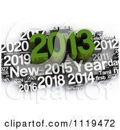 Clipart Of A 3d Green And White 2013 Year Collage Royalty Free CGI Illustration by MacX