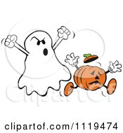Cartoon Of A Halloween Ghost Spooking A Jackolantern Royalty Free Vector Clipart by Johnny Sajem