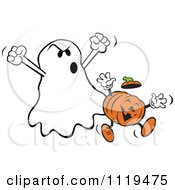 Cartoon Of A Halloween Ghost Frighteneing A Jackolantern Royalty Free Vector Clipart