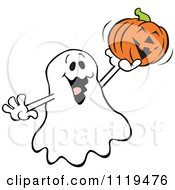 Cartoon Of A Halloween Ghost Holding Up A Jackolantern Royalty Free Vector Clipart