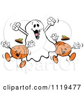 Cartoon Of A Happy Halloween Ghost With Jackolanterns Royalty Free Vector Clipart by Johnny Sajem