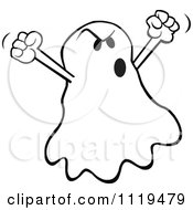 Cartoon Of A Halloween Ghost Spooking Royalty Free Vector Clipart