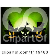Clipart Of A Green Halloween Background With Jackolanterns Bats And Full Moon Royalty Free Vector Illustration