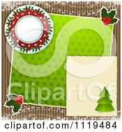 Clipart Of A Christmas Scrapbook Page On Corrugated Cardboard Royalty Free Vector Illustration by elaineitalia