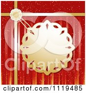 Clipart Of A Golden Snowflake Gift Tag With Ribbons On Red Royalty Free Vector Illustration by elaineitalia