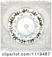 Clipart Of A Christmas Background Of Holly In A Circle On Snowflakes And Stripes Royalty Free Vector Illustration by elaineitalia