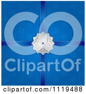 Silver Christmas Snowflake Star With Ribbons On Blue