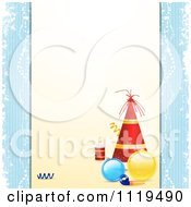 Clipart Of A Christmas Party Background With A Hat Baubles Noise Maker And Popper Royalty Free Vector Illustration by elaineitalia
