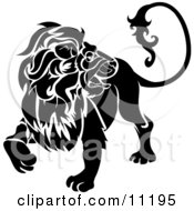 A Lion Looking Back Leo Astrological Sign Of The Zodiac Clipart Illustration by AtStockIllustration #COLLC11195-0021